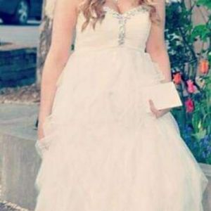 Masquerade White Strapless Prom Dress